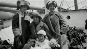 This is a photo of Bernice (Far right), her mother and some friendly passengers taken the morning of April 15th, 2012. (Bernice Palmer | Smithsonian)
