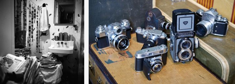 Left: Vivian Maier's bathroom doubled as a darkroom. Right: Some of Vivian Maier's various cameras (Official Website: About Vivian Maier)