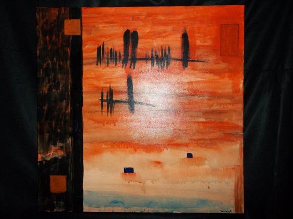 "©VeronicA, ""Blackbirds Starting to Gather"", Acrylic/Canvas, 36 x 36 x 2 1/2, 2014."