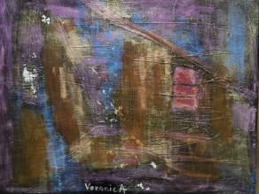 """©VeronicA, """"Meteor"""", Acrylic/linen canvas, 11 x 14 x 3/4, 2014."""