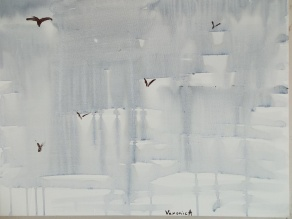 "©VeronicA, ""Rain and Ravens"", Acrylic/linen, 20 x24 x 3/4, 2014. ©VeronicA"