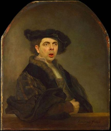 ∫ Rembrandt Self Portrait Hijacked by Mr. Bean © Rodney Pike.