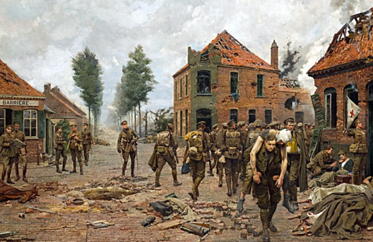 ∫ The painting Menin Crossroads was commissioned by the Green Howards Regiment from the Italian artist in 1923, showing a soldier purported to be Tandey carrying a wounded man at the Kruiseke Crossroads in 1918, northwest of Menin. The painting was made from a sketch, provided to Matania, by the regiment, based on an actual event at that crossroads. A building shown behind Tandey in the painting belonged to the Van Den Broucke family, who were presented with a copy of the painting by the Green Howard's Regiment. (Wikipedia)