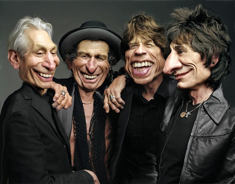 ∫ A Caricature Study of the Rolling Stones. © Rodney Pike.