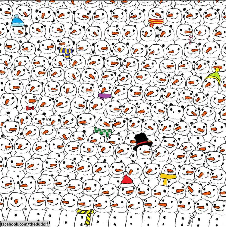 Find the Panda among the snowmen!