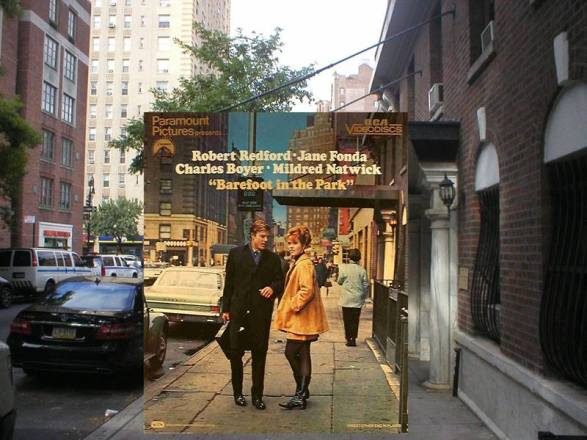 Robert Redford and Jane Fonda in front of 123 Waverly Place between 6th Avenue and MacDougal Street, NYC, from the cover of a videodisc version of the movie. . . Their 5th floor apartment in the film was down the block at 111 Waverly Place. © Bob Egan