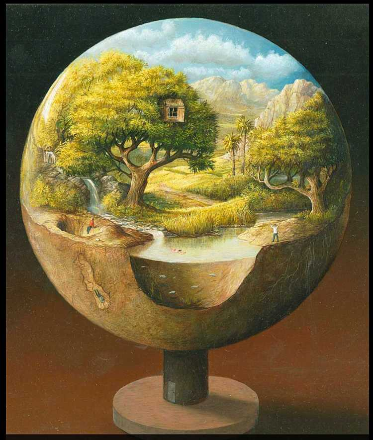 'Ecosphere' A miniature world. People are locked in a little paradise. Not content with their fate they are looking for a way out. Oil on wood. 2015