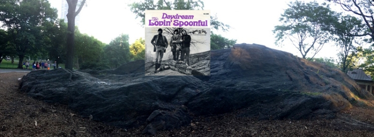 """The cover of the single """"Daydream"""" by the Lovin' Spoonful (photo by Don Paulsen). Finding this was like finding a needle in a haystack. For three years, every time I walked through Central Park I was always on the lookout for the combination of the sloping rock, the tree, the building tower in the back, and the vertical """"slash"""" in the rock on the right. © Bob Egan"""