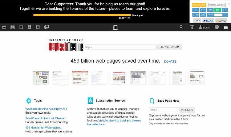 Waybackmachinepage