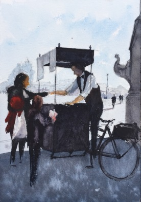 Sketch of a Crepe seller on Pont Alexandre III Bridge, Paris